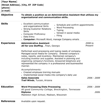 administrative assistant resume template word microsoft 2003