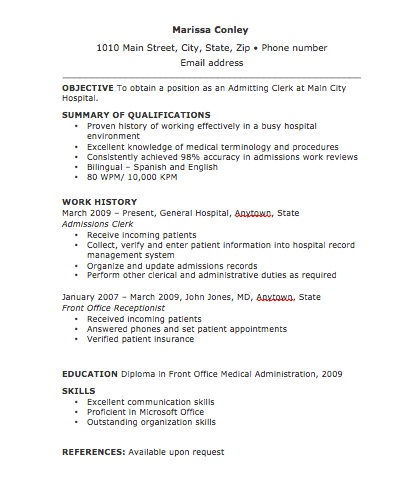 admitting clerk resume thumbnail
