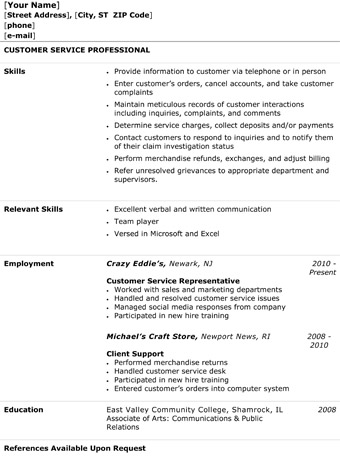 Great Customer Service Representative Resume