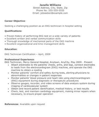 EKG Technican Resume  Medical Resume Template
