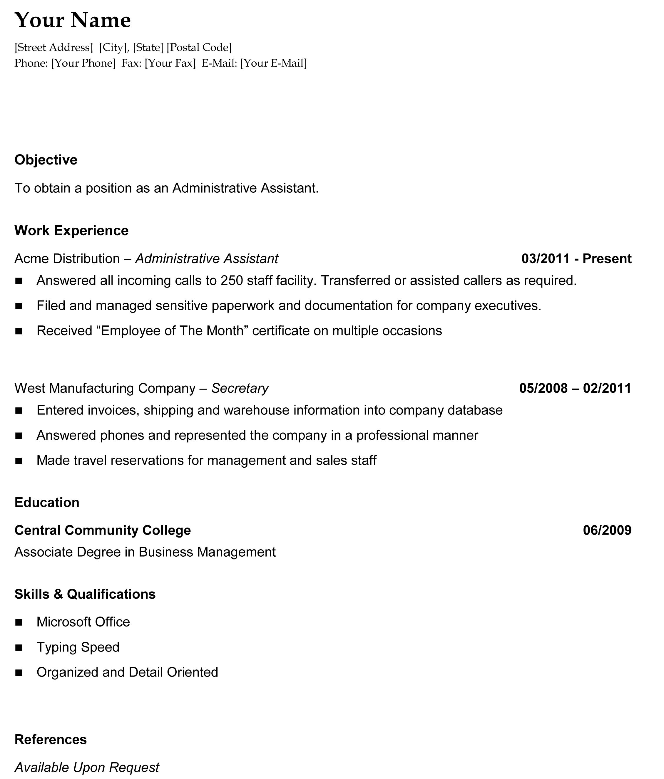 Resumetemplate General Chronological Resume The Resume Template Site