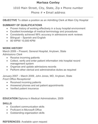admitting clerk resume - Resume For Hospital Job