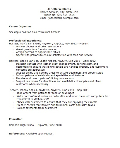 Resume, Restaurant Resume Objective, Restaurant Hostess Resume, Resume ...