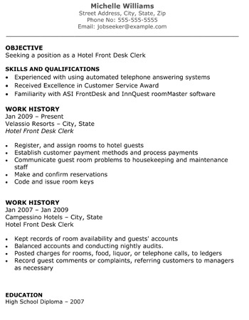 Front desk clerk skills resume