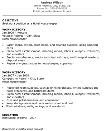 Resume For A Housekeeper Hotel Housekeeper Resume