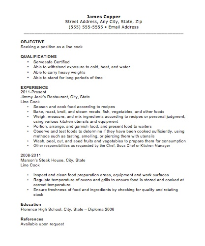 line cook resume - Resume Sample For Cook
