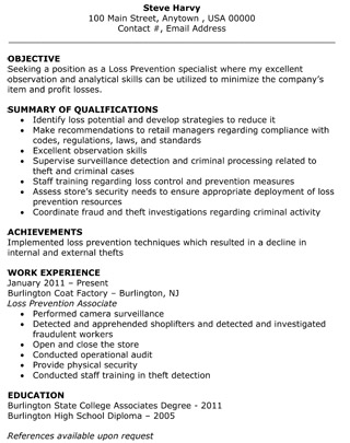 Loss Prevention Specialist Resume - The Resume Template Site