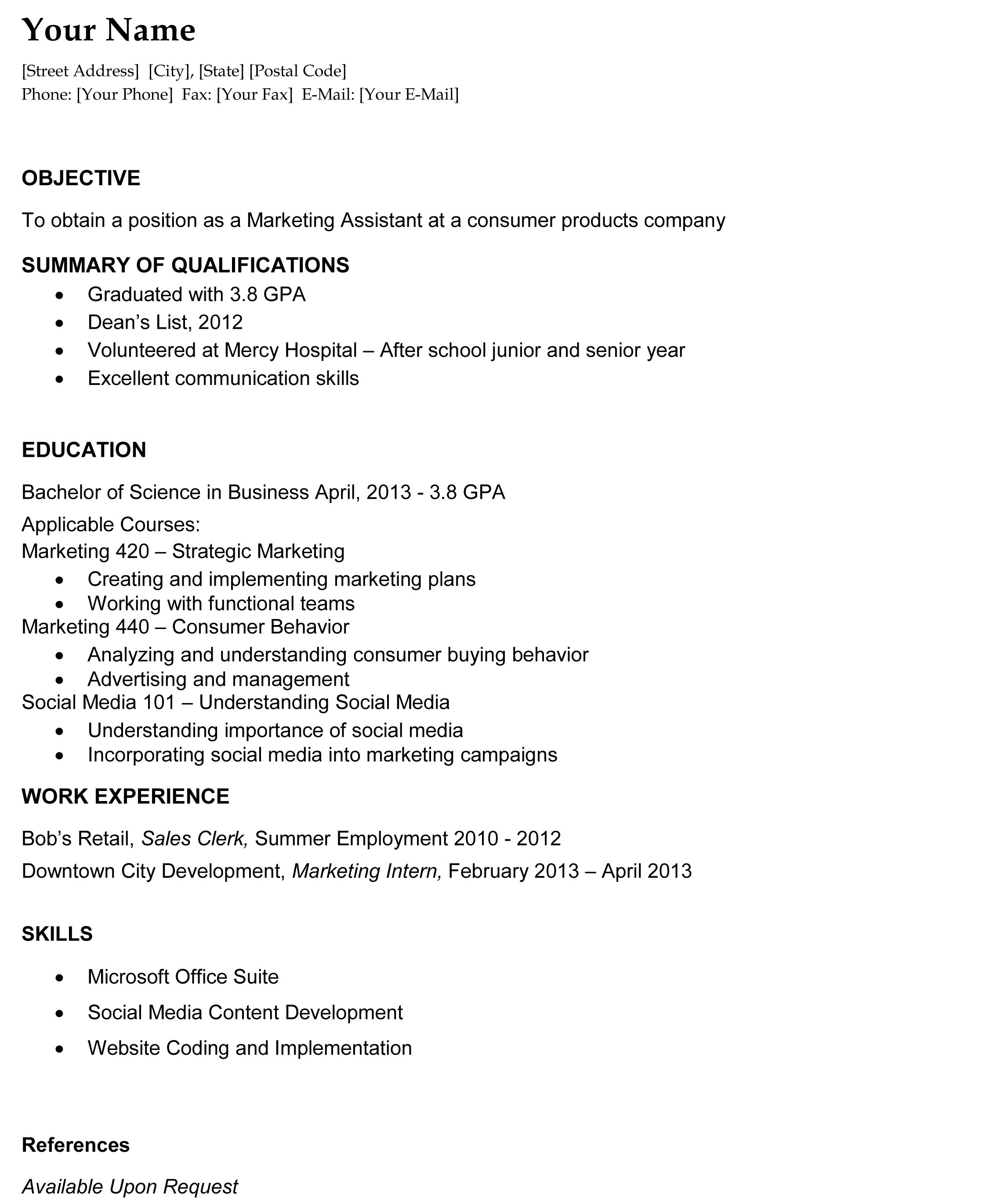 College Grad Resume Template – Objectives for College Resumes