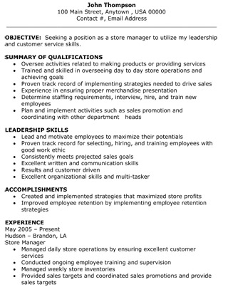 retail store manager resume the resume template site