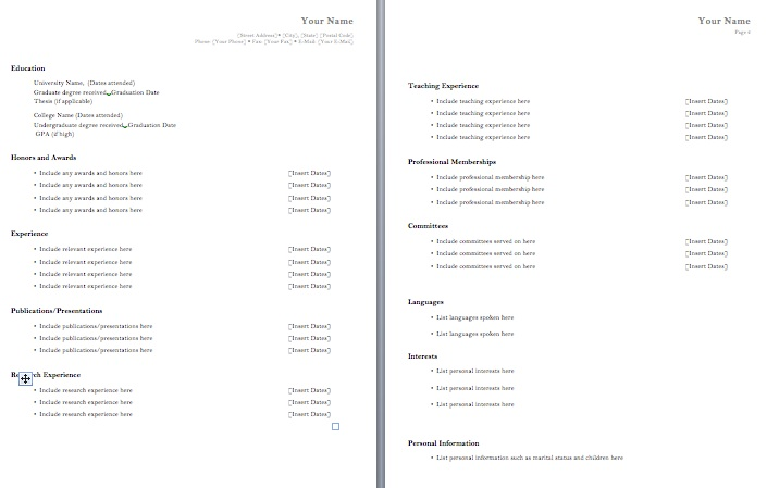 cv template the resume template site