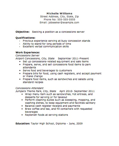 Concessions Server Resume Image The Resume Template Site